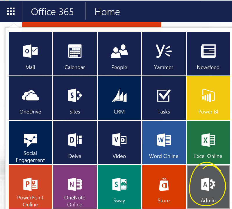Open Office 365 Admin Center