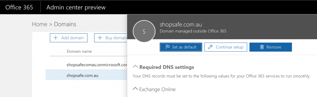 Remove domain from Office 365