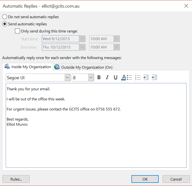 How to set up an Out of Office message in Office 365 - GCITS