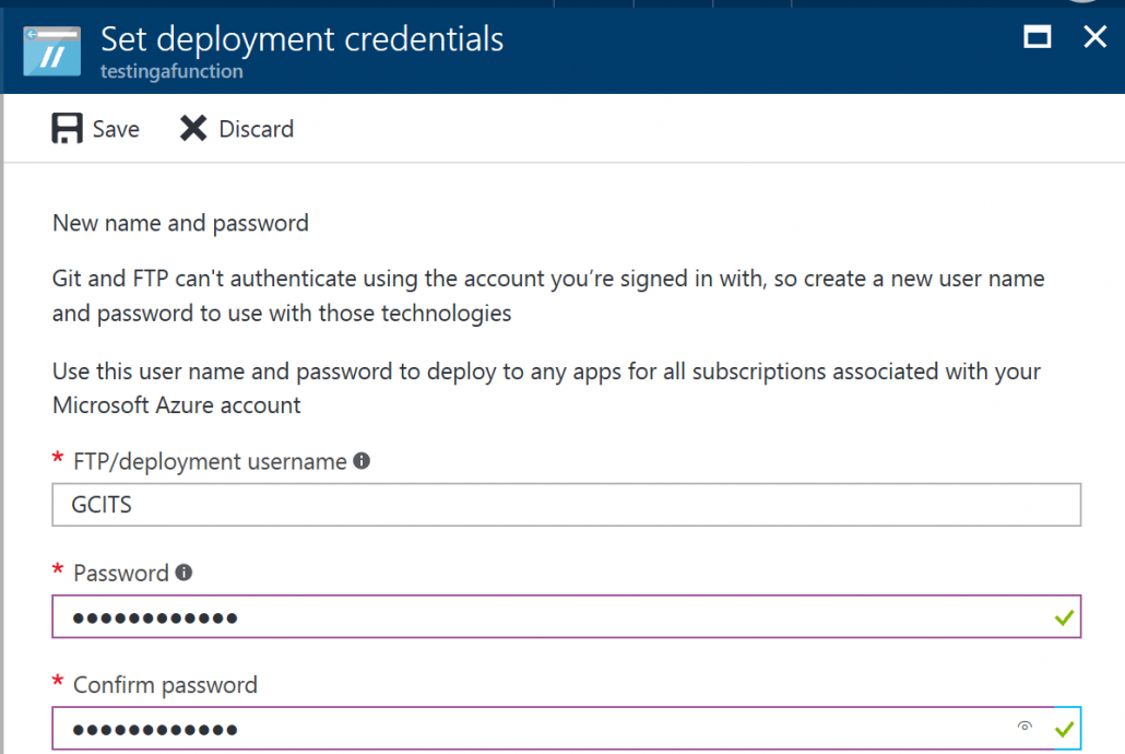 Set Deployment Credentials For FTP Access