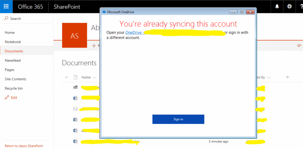 You're already syncing this account' when syncing SharePoint