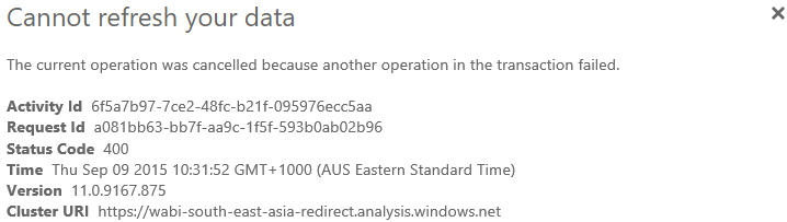 Power BI Error Message