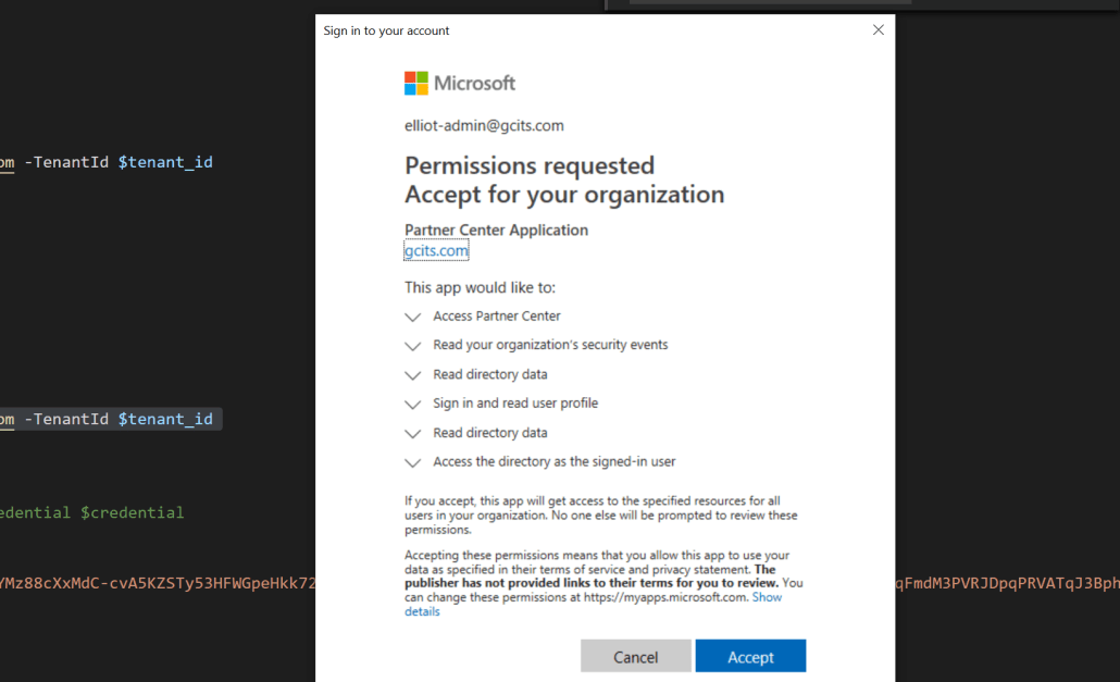 Consent to delegated admin partner application for the secure app model