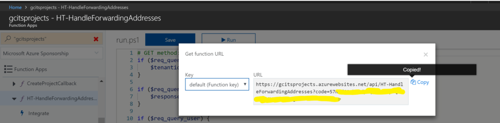Copy URL From HTTP Trigger PowerShell Azure Function