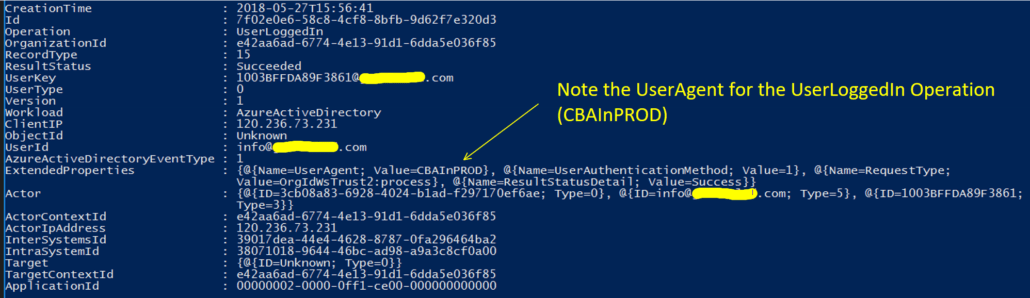 Hacker Logging On to Office 365 With CBAInPROD User Agent