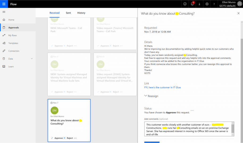 Microsoft Flow Approval Request With Quick Notes