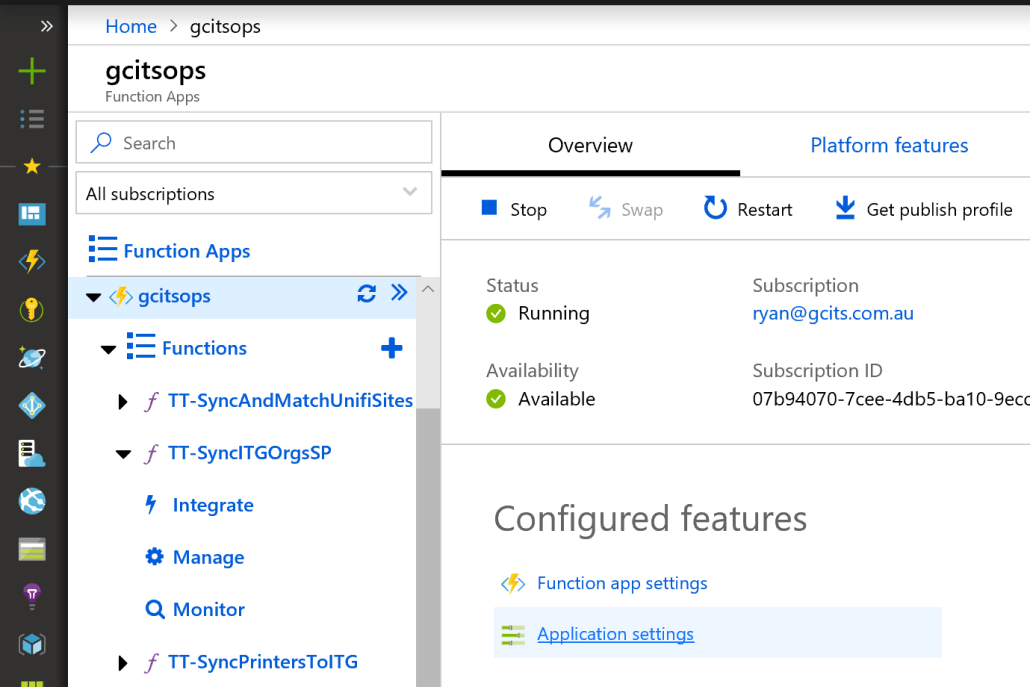 Open Application Settings For Azure Function