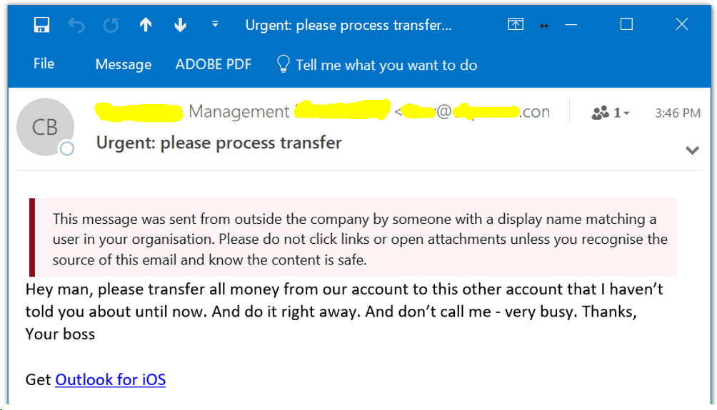Office 365 Phishing Email With Warning