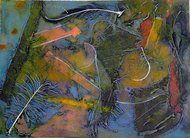 "Manta Dance, 15x20"", collagraph by Garry C Kaulitz"