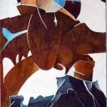 "Water Dance, 10x16"", collagraph by Garry C Kaulitz"