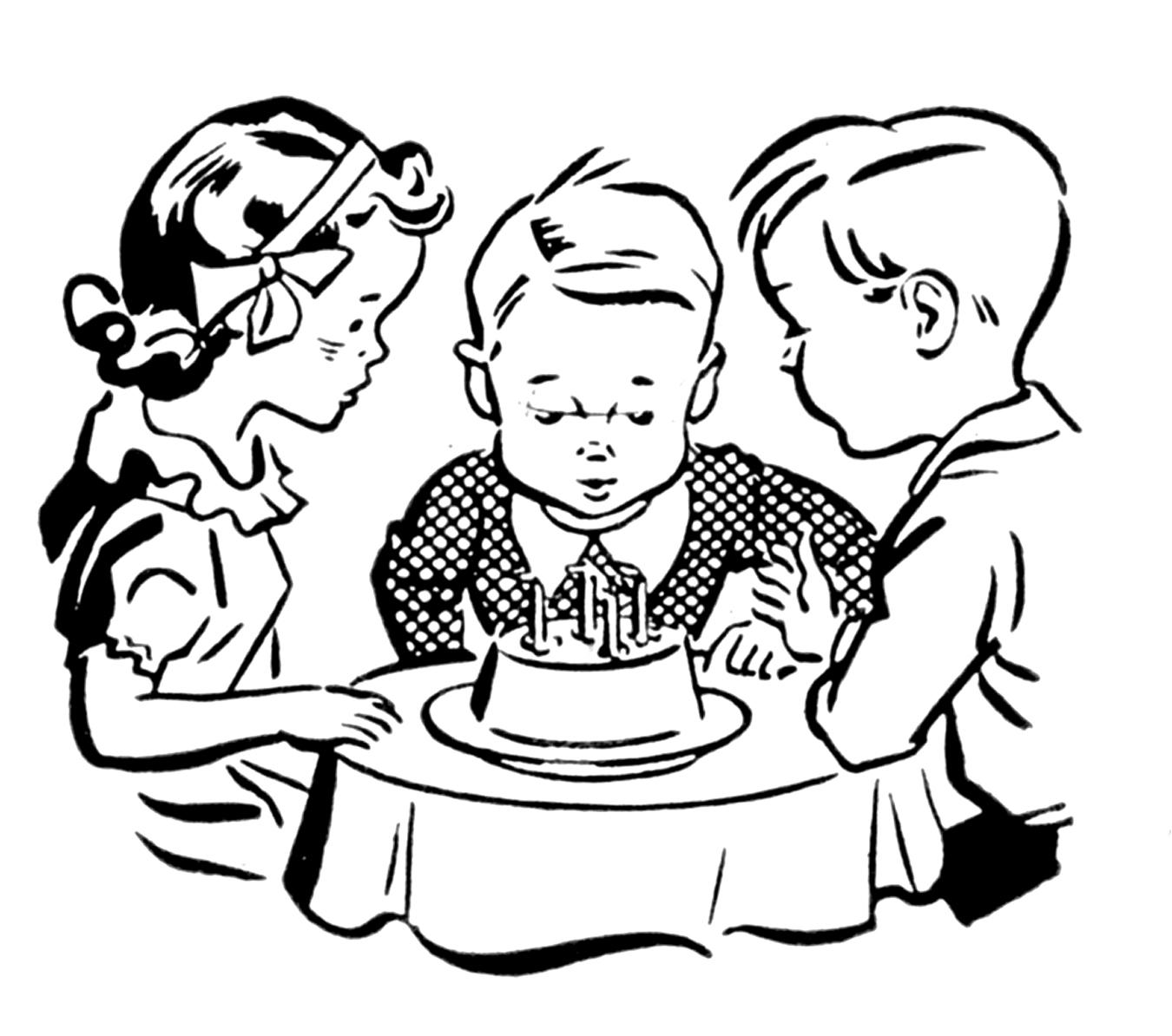 Happy Birthday Black And White Happy Birthday Cake Clipart