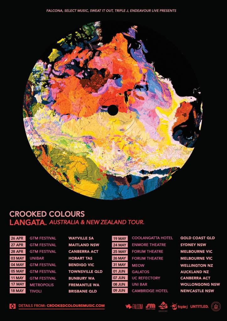 Crooked Colours tour art Mar 2019
