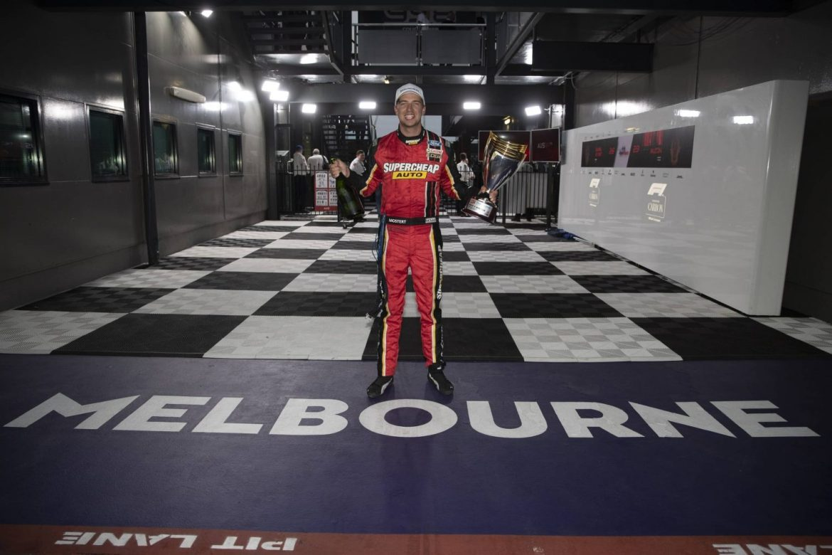 Supercars driver Chaze Mostert wins race 3 of the Beaurepaires Melbourne 400 Event 2 of the Virgin Australia Supercars Championship, Melbourne, Victoria. Australia. 16th March 2019.