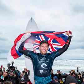 2X World Champion John John Florence of Hawaii wins the 2019 Rip Curl Pro Bells Beach after winning the final at Bells Beach on April 27, 2019 in Victoria, Australia.