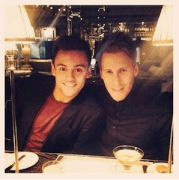 Tom Daley and Dustin Lance Black at a London restaurant