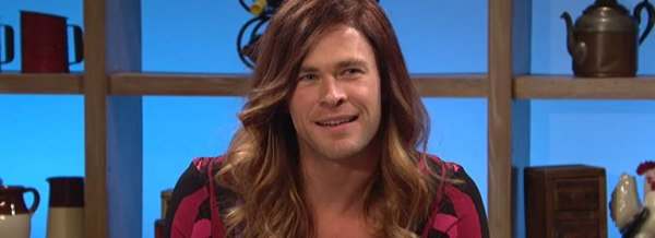 Chris Hemsworth in a wig and dress in an SNL sketch