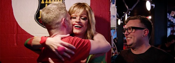 The queens of ireland panti hugging after yes vote confirmed