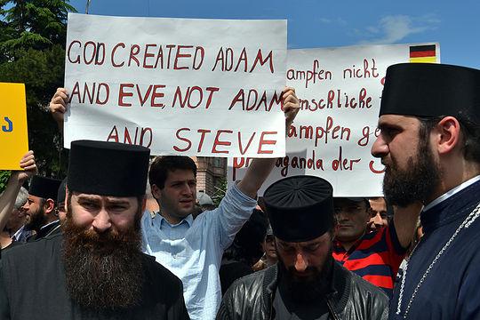 Anti gay protestors in Georgia at IDAHOT 2016
