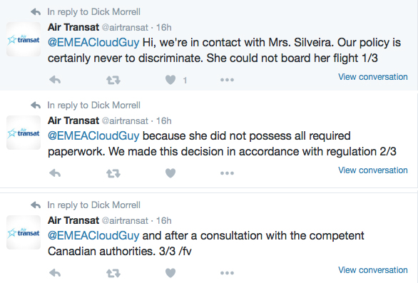 Air Transat denied a trans woman flight because she did not have a visa allegedly. These are three tweets from Air Transat confirming this as the reason
