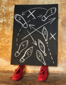 Red high heel shoes underneath a blackboard with numbered shoes and arrows showing choreography for RIOT