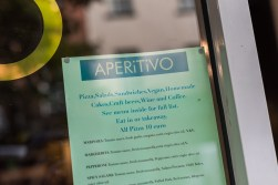 The Aperitivo sign in the window
