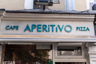 Cafe Aperitivo Pizza written outside the shop front
