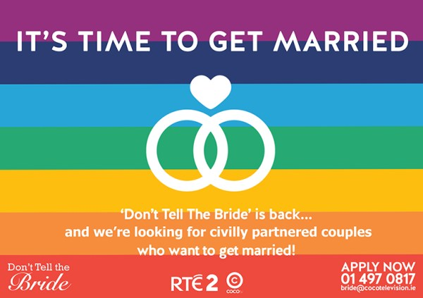 It's time to get married rainbow banner for don't tell the bride