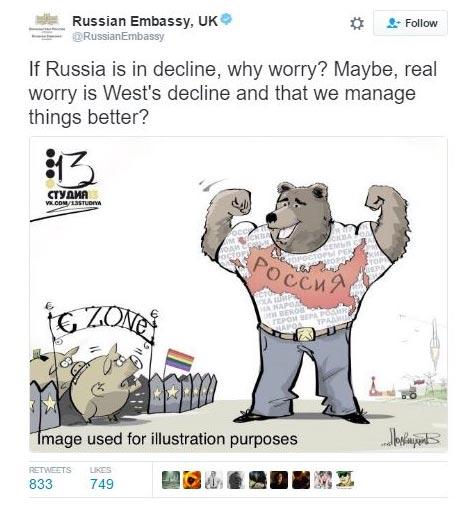 Russian embassy anti-gay tweet
