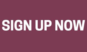 Sign up now on a mauve background for the national antiques art and vintage fair