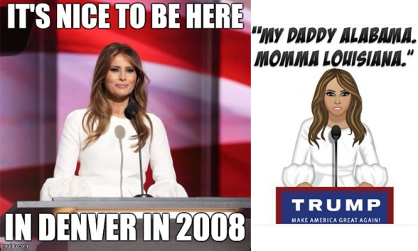 Melania trump, which is a great halloween costume for lesbians this year, memes on left and as beyonce on right