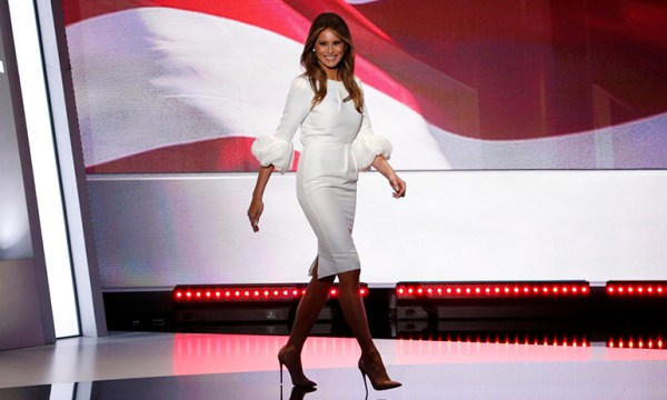Melania Trump in a white dress and stilettos, which is one of the best Halloween costumes for lesbians in 2016