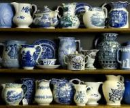 Jugs, vases and cups which you could buy at the national antiques art and vintage fair