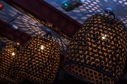 lamp shades with holes in them from Yamamori Sushi, who's manager Graham Ryan we interviewed in this month's Amuse Bouche