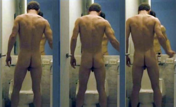 Michael Fassbender naked in Shame peeing into a toilet