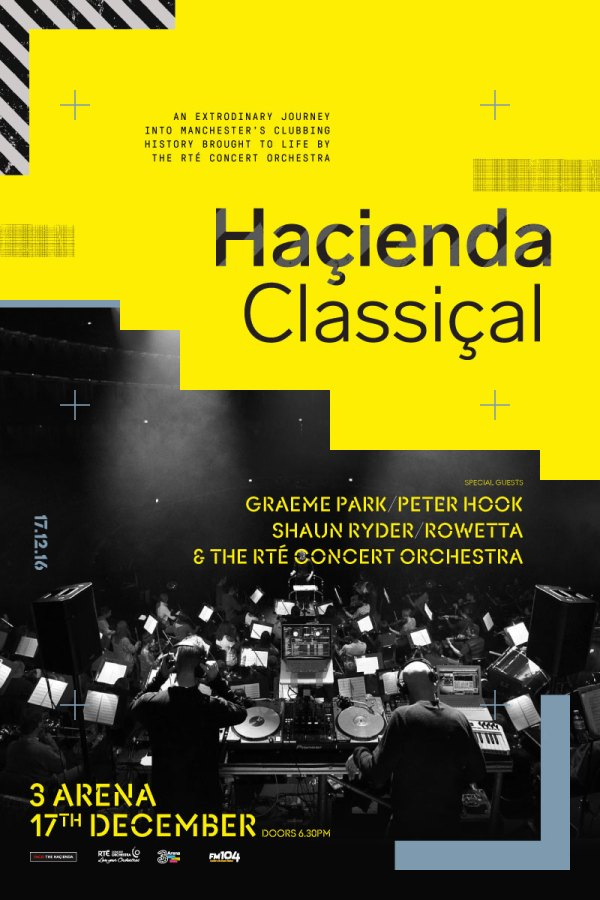 The poster for Haçienda Classical with a black and white image of an orchestra on it.