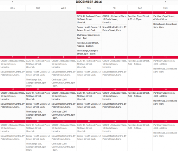 A schedule of HIV testing facilities from KnowNow's website.