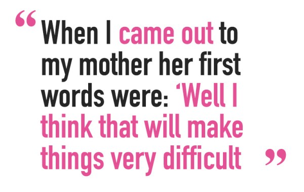 """A quote saying: 'When I came out to my mother her first words were: """"Well I think that will make things very difficult""""' A quote staying 'To all intents and purposes I was a bridesmaid, but when the day arrived I wasn't in the wedding party' for Andy Kane's article about children and how he can contribute to society"""