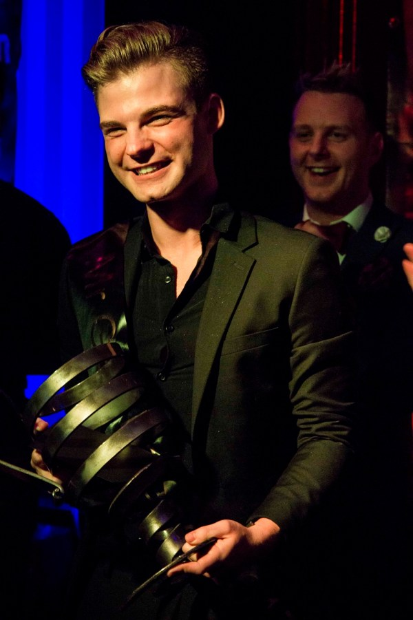 Stephen Lehane holding the MGI cup as the winner of Mr Gay Ireland 2017