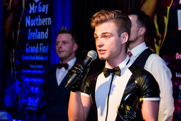 Stephen Lehane in a latex tux as the winner of Mr Gay Ireland 2017