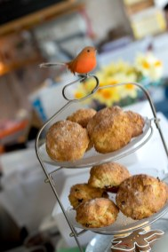 A shelf with scones at the cake cafe and slice which are both owned by Ray O'Neill