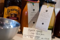 Bottles of juice and ginger beer from Two Boys Brew café