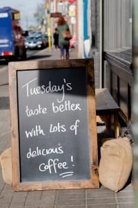 Sign outside Two Boys Brew café