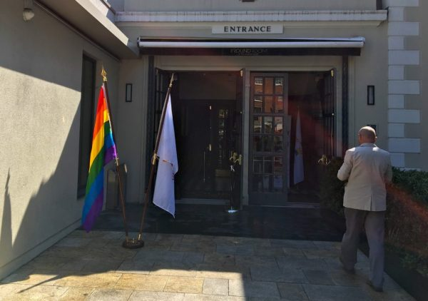 The Mansion House exterior with a Rainbow flag to the left at the launch of DCC's LGBT inclusion Strategy