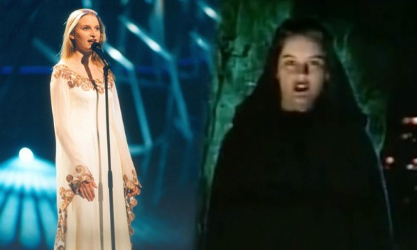 Eimear Quinn in a white dress standing in front of a microphone and a singer with a green cloak, both of which are costume ideas for GCN's Eurovision Douze Points Party