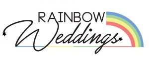 The rainbow weddings logo with a rainbow