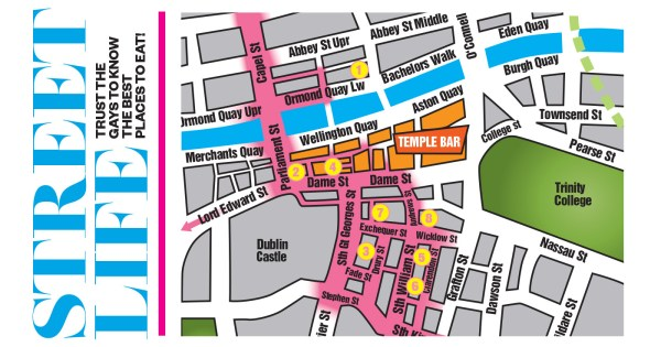 The map of Dublin city centre with numbers on it and the words Street Life written to the left