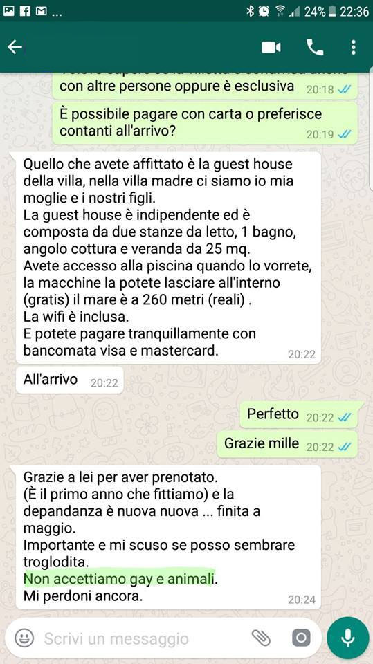 Screenshot of the WhatsApp conversation where the owner of the guest house denies booking to gay people