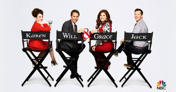 The cast of Will & Grace sitting on directors' chairs with their names on it.