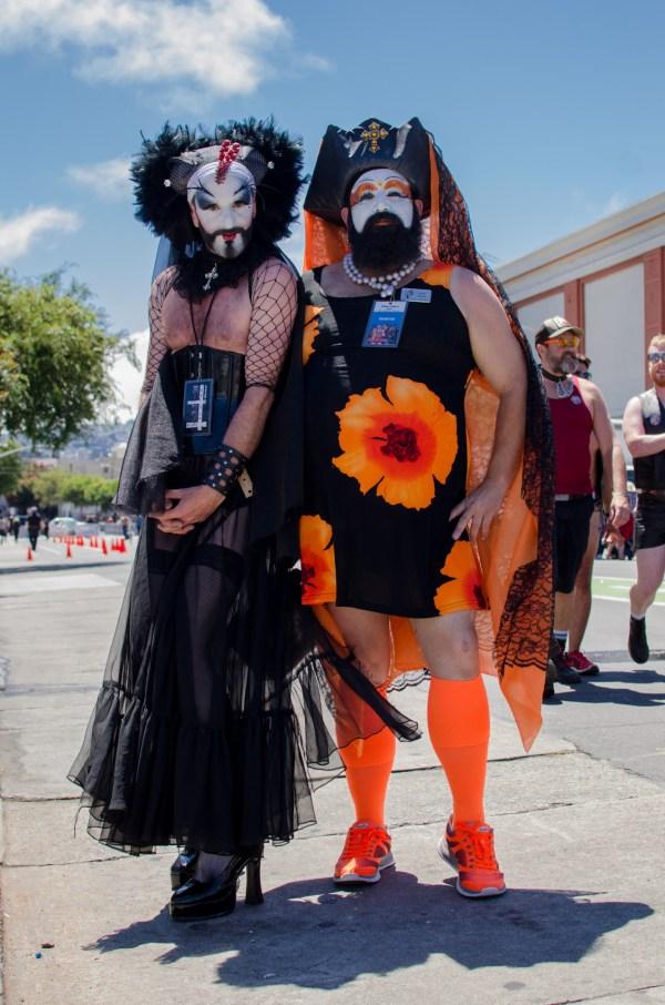 Two colourful drag queens at Folsom Street Fair