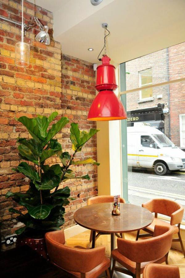 A plant, table chairs and lamp inside nando's ireland